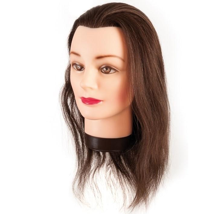 cabeza maniqui pelo natural 35-40cm