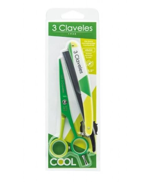 """Tijeras 3 Claveles Cool 5'5"""" Verde + Navaja"""