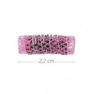 Bolsa 6 U. rulos Bucles Malla rosa Diametro 22mm